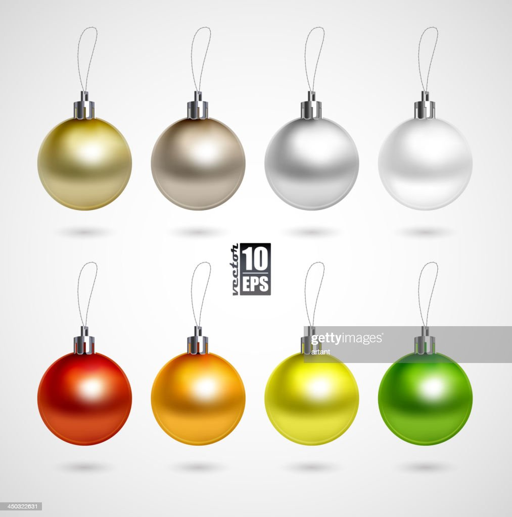 A set of eight Christmas balls decoration in various colors