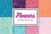 Set of eight colorful floral patterns seamlessly tiling