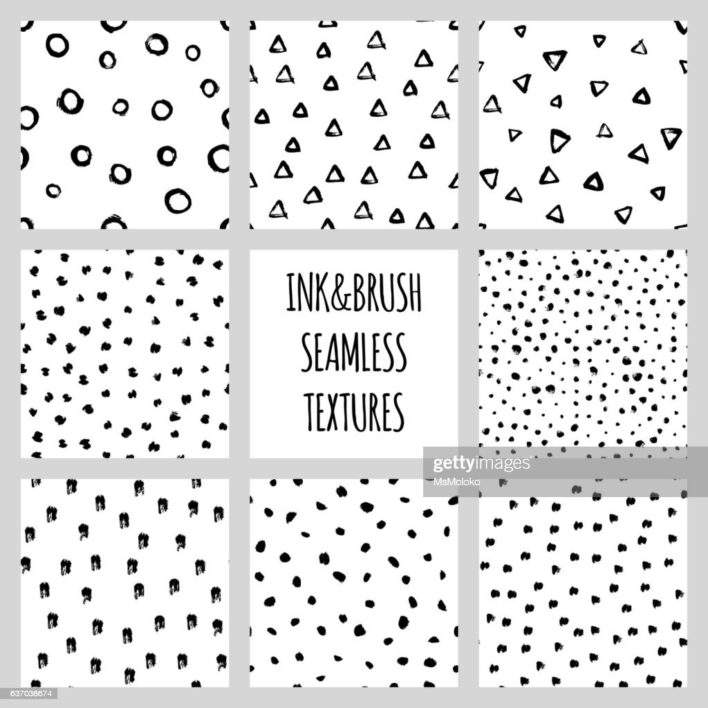 Set of eight seamless black and white vector free hand