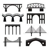 Set of eight stylized images of bridges.