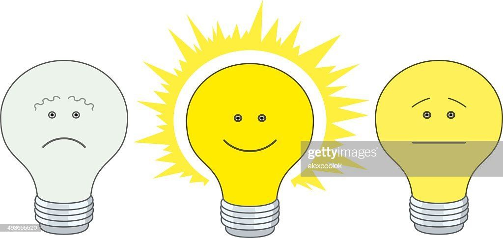 Set of electric bulbs, bright on