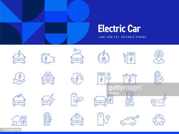 set of electric car related line icons. editable stroke. simple outline icons. - electric vehicle charging station stock illustrations