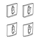 Set of electric wall switch in ON and OFF mode. Hand drawn sketch, isolated on white. Vector