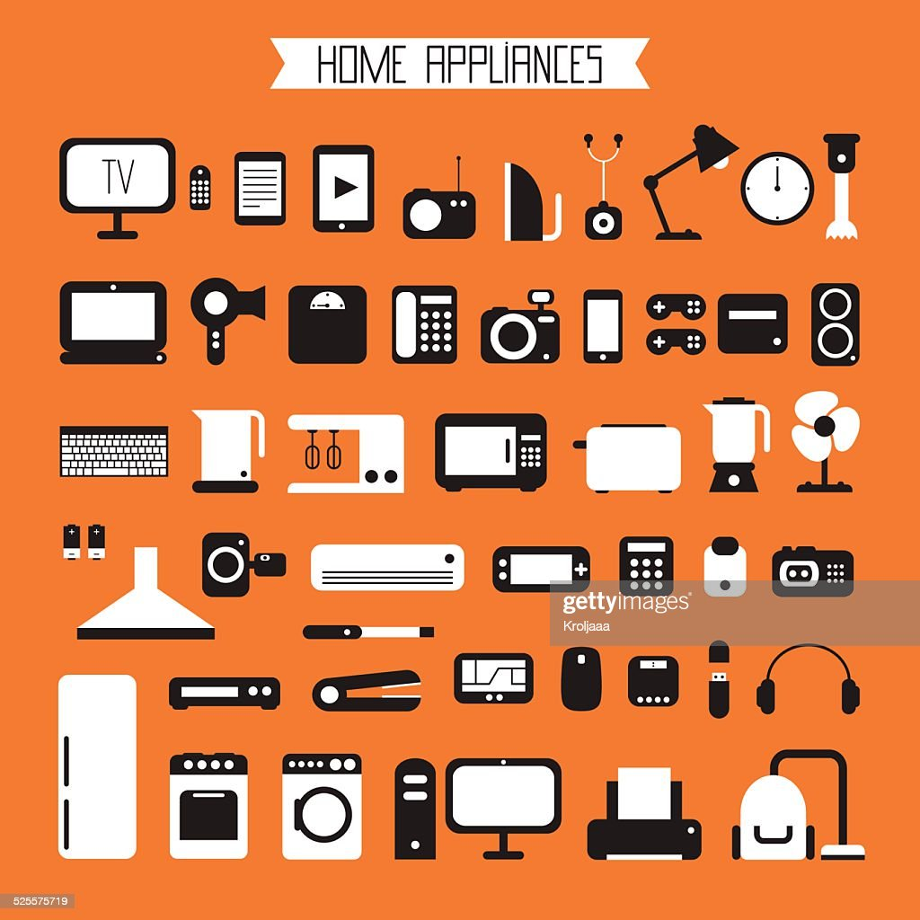 Set of electronic devices and home appliances colorful icons.