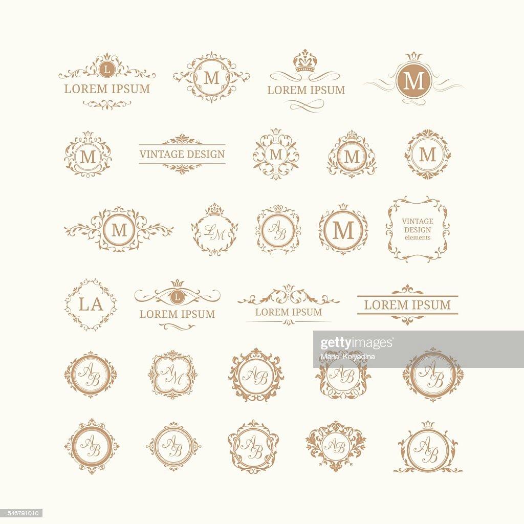 Set of elegant floral monograms and borders