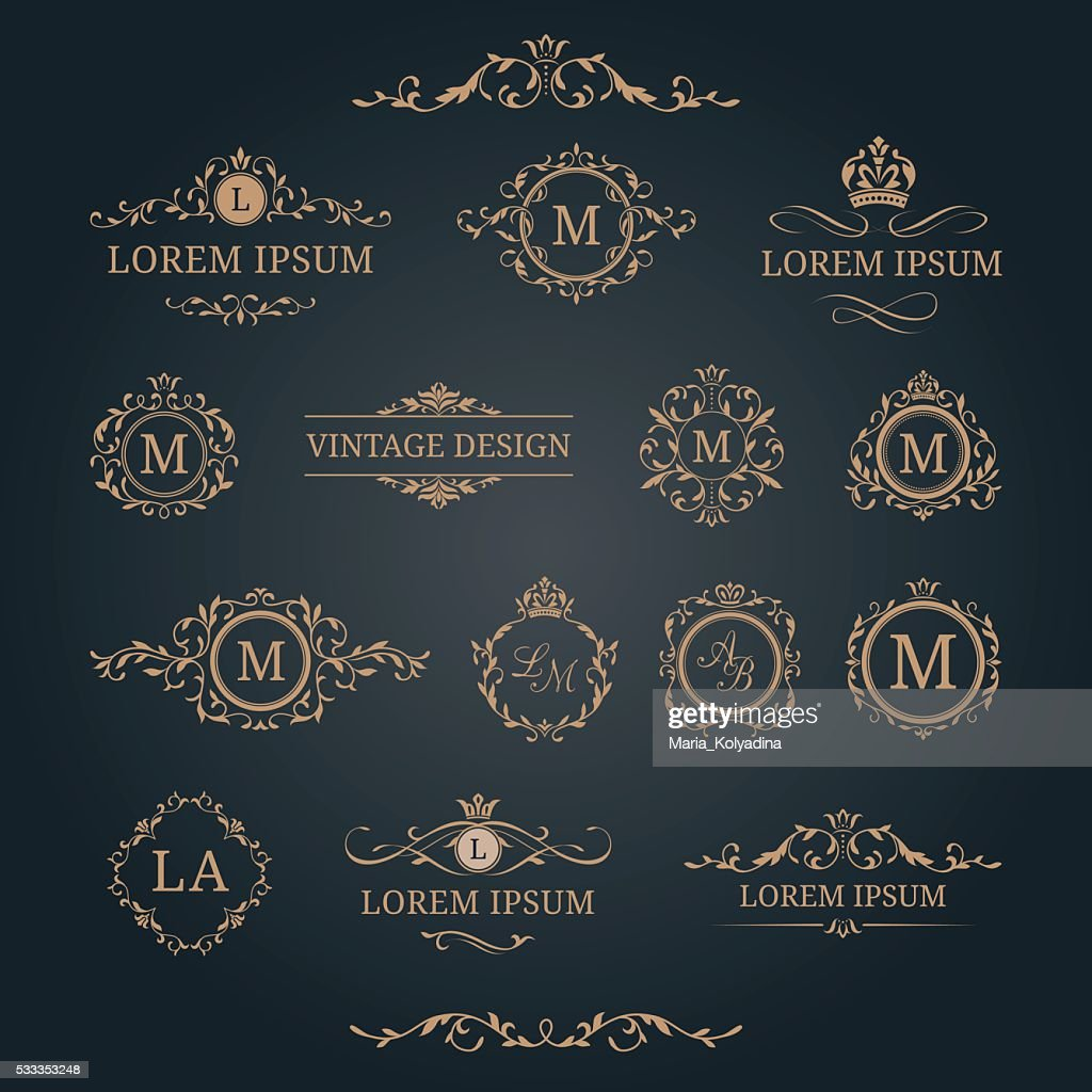 Set of elegant floral monograms and decorative elements