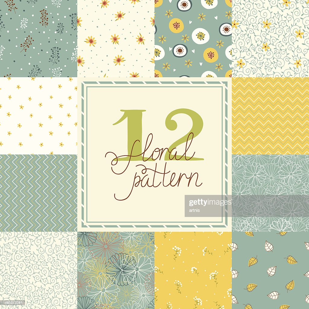 Set of elegant floral seamless patterns