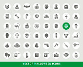 Set of Elegant Universal Black Minimalistic Solid Halloween Icons on Circular Colored Buttons on Grey Background