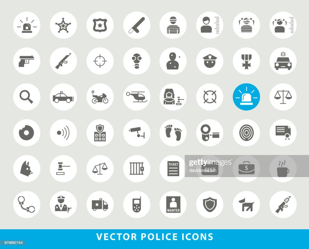 Set of Elegant Universal Black Minimalistic Solid  Police Icons on Circular Colored Buttons on Grey Background