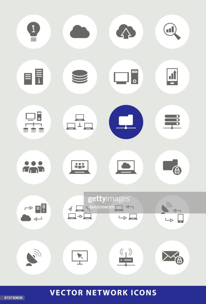 Set of Elegant Universal Black Network Minimalistic Solid Icons on Circular Colored Buttons on Grey Background