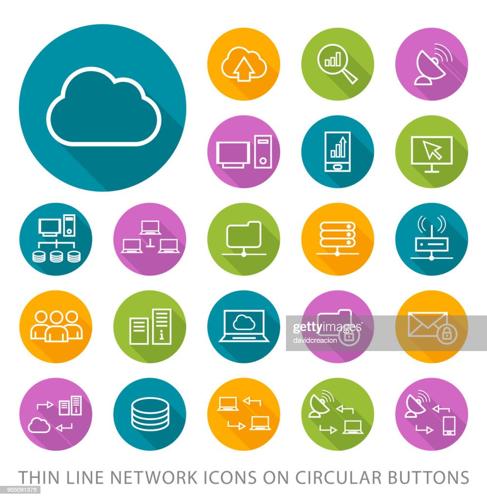 Set of Elegant Universal White Network Minimalistic Thin Line Icons on Circular Colored Buttons on White Background