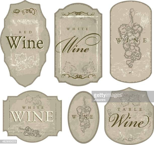 set of elegant wine bottle labels sketchy grapes and leaves - red wine stock illustrations, clip art, cartoons, & icons