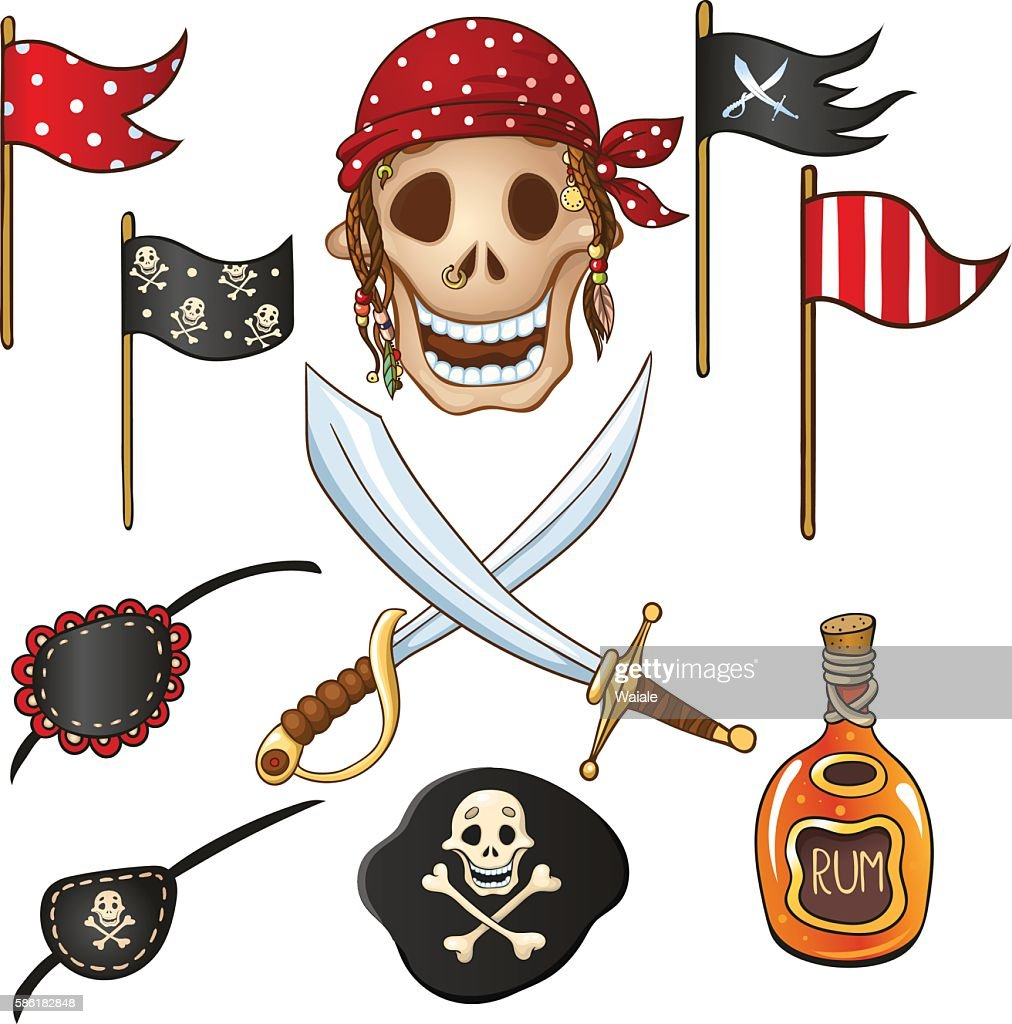 Set of elements for a pirate party