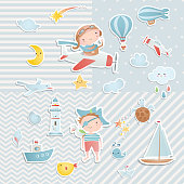 Set of elements for baby shower design with a pilot and a pirate. Paper, scrapbook.