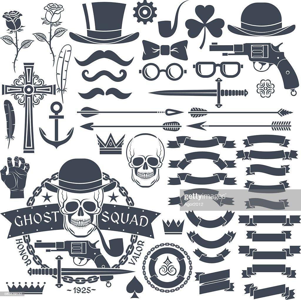Set of elements for design retro emblem