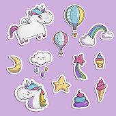 Set of elements for your design. Unicorn, star, rainbow.