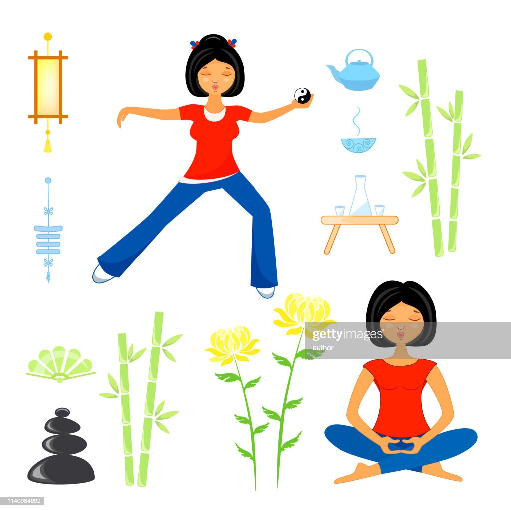 set of elements on the theme of yoga, qigong and tai chi