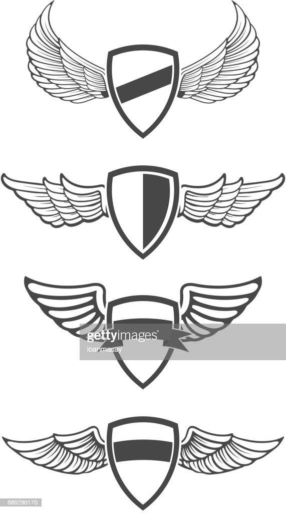 Set of emblem templates with wings.