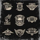 Set of emblems for biker club. Car repair. for label, sign, badge.
