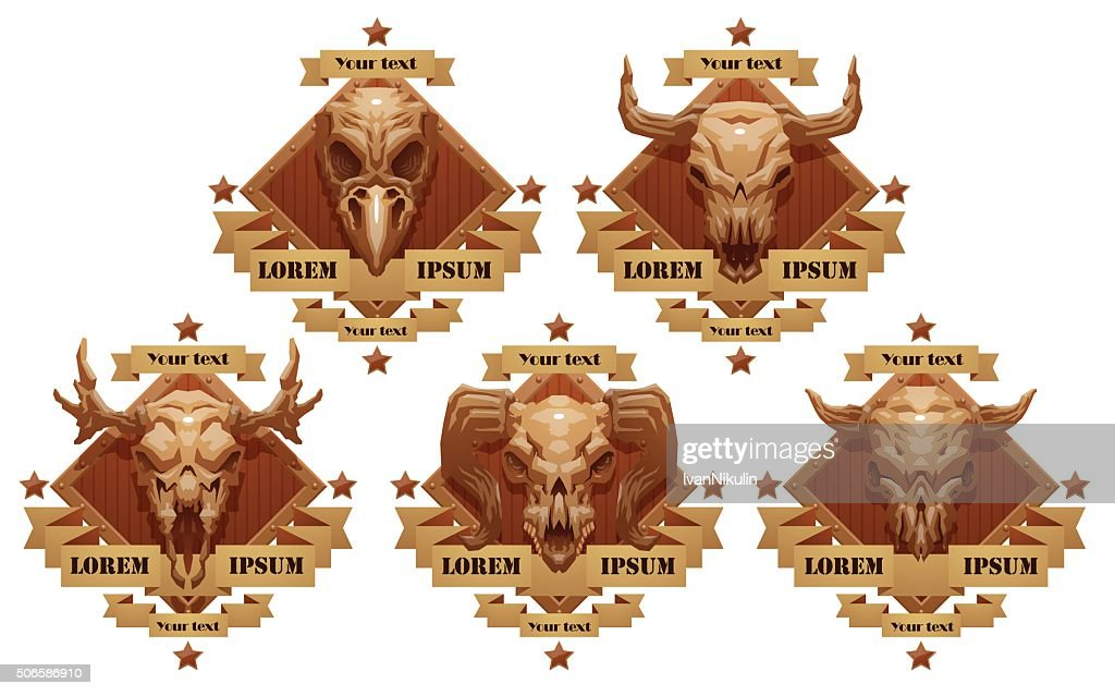 Set of emblems with animal's skulls.