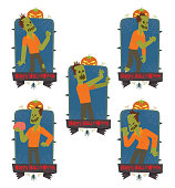Set of emblems with funny zombies