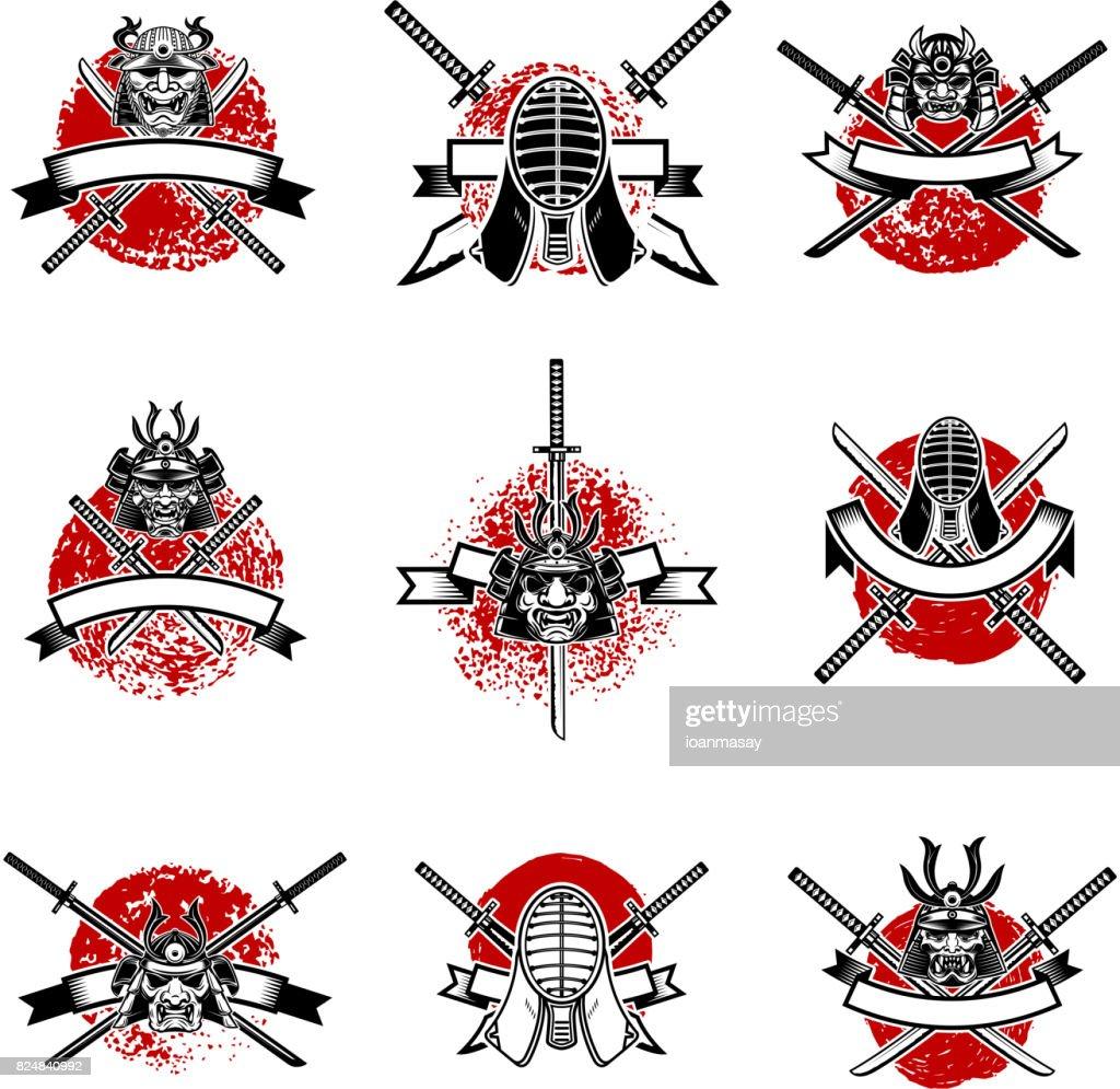 Set of emblems with japanese swords, samurai masks. Japan sword fencing. Design elements for label, emblem, sign. Vector illustration