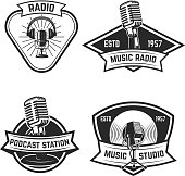 Set of  emblems with old style microphone isolated on white background. Design elements for label, sign. Vector illustration