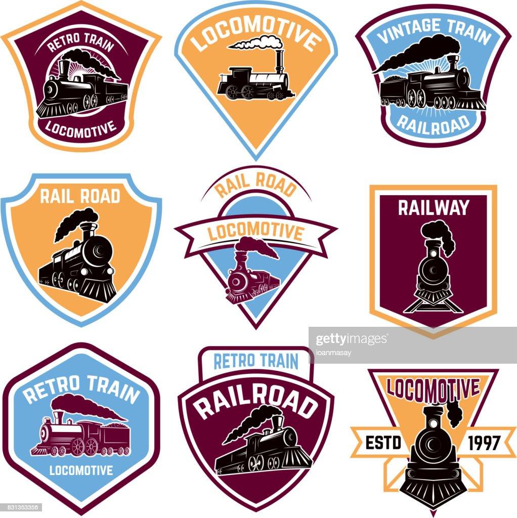 Set of emblems with vintage train. Retro rail road.