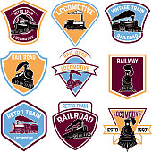Set of emblems with vintage train. Retro rail road.