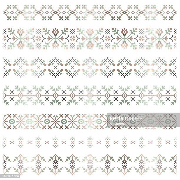 ilustrações, clipart, desenhos animados e ícones de conjunto de padrões de bordado - roupa tradicional
