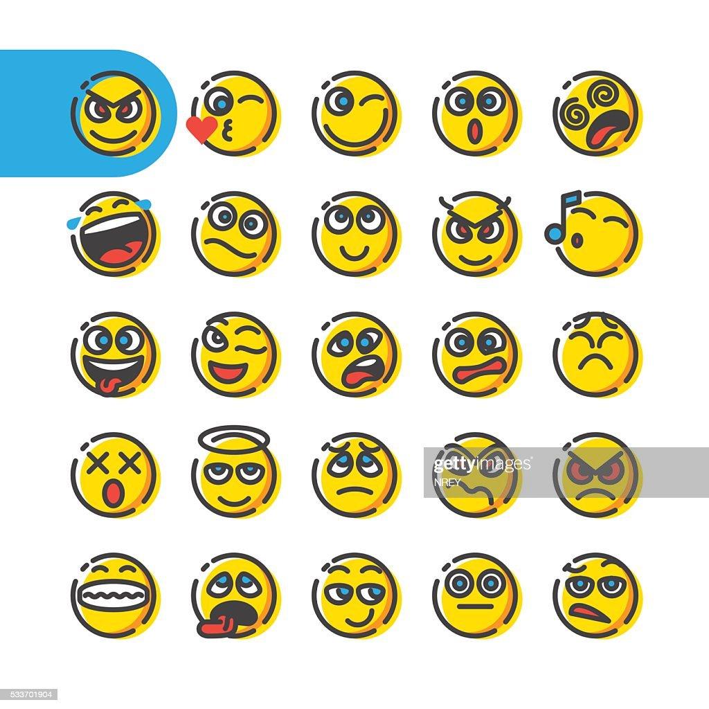 Set of emoji bubble emoticons