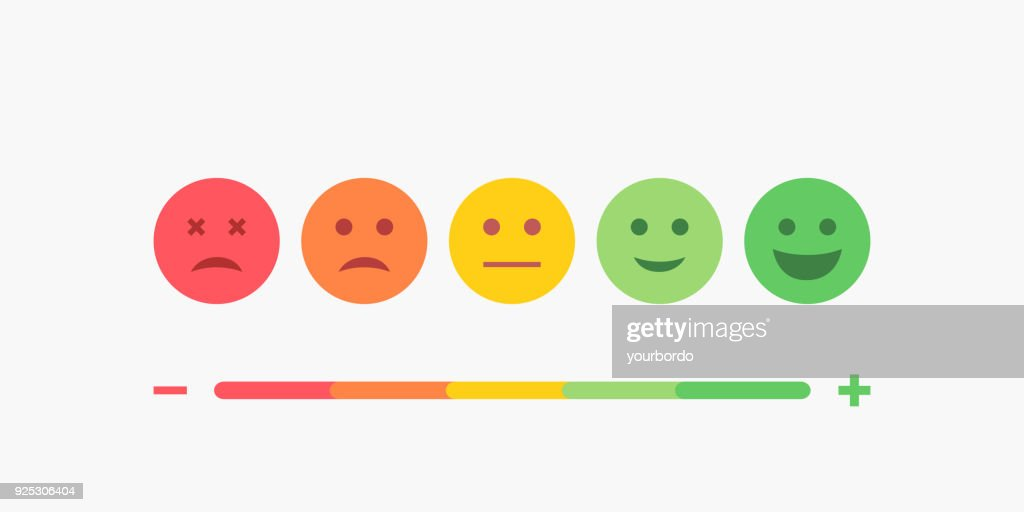 Set of Emoji Colored Flat Icons. Vector Set of Emoticons. Sad and Happy Mood Icons. Vote Scale Symbol Set.