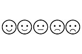 Set of emoji. Vector icon of emoticons. Different faces. Rating for web or app