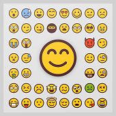 Set of emoticon vector isolated on white background. Emoji vector. Smile icon collection.