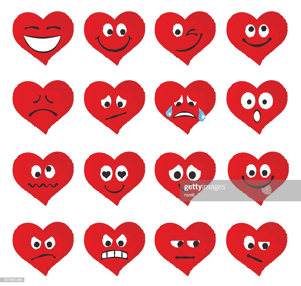 Set of emoticons and emojis in red heart form