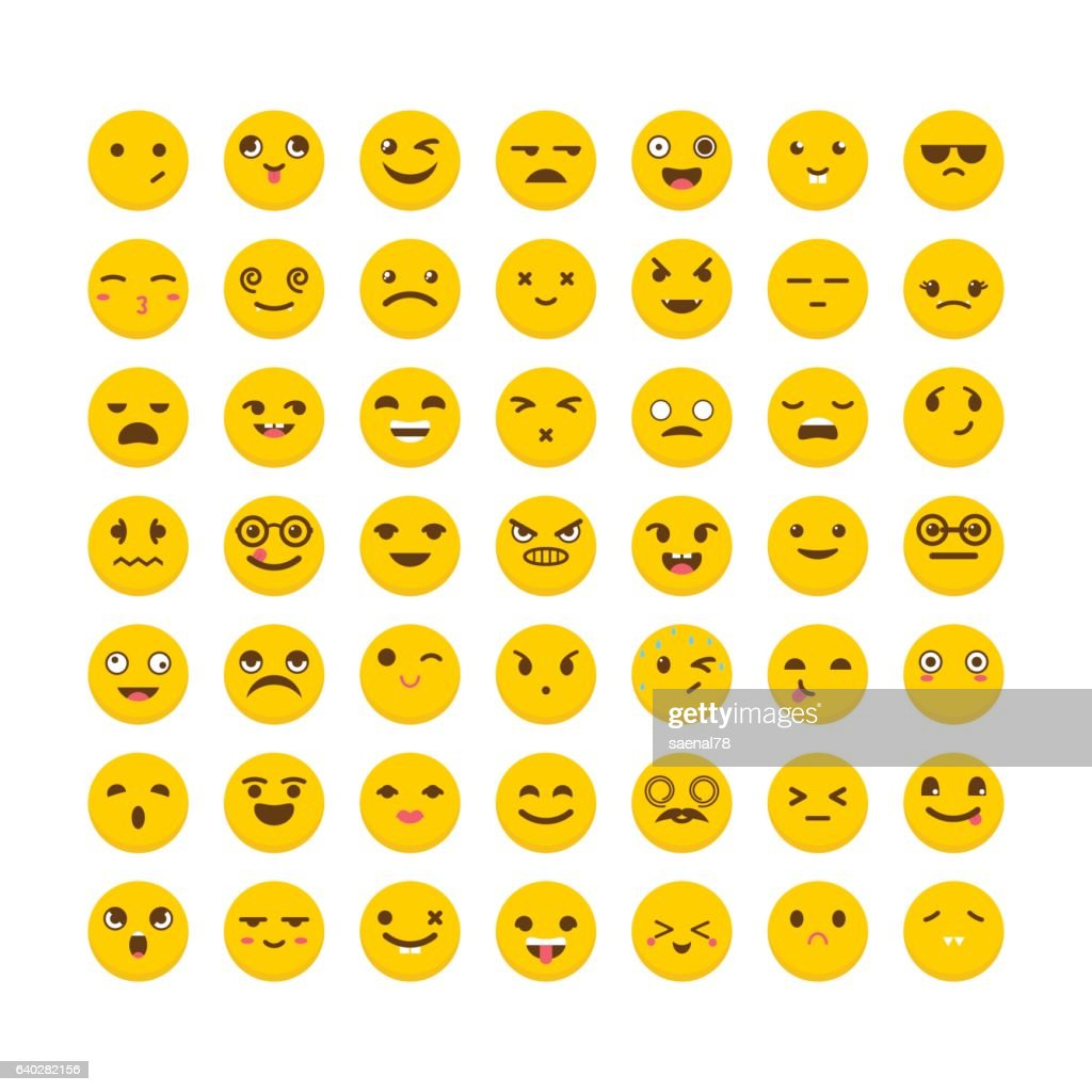 Set of emoticons. Big collection with different expressions