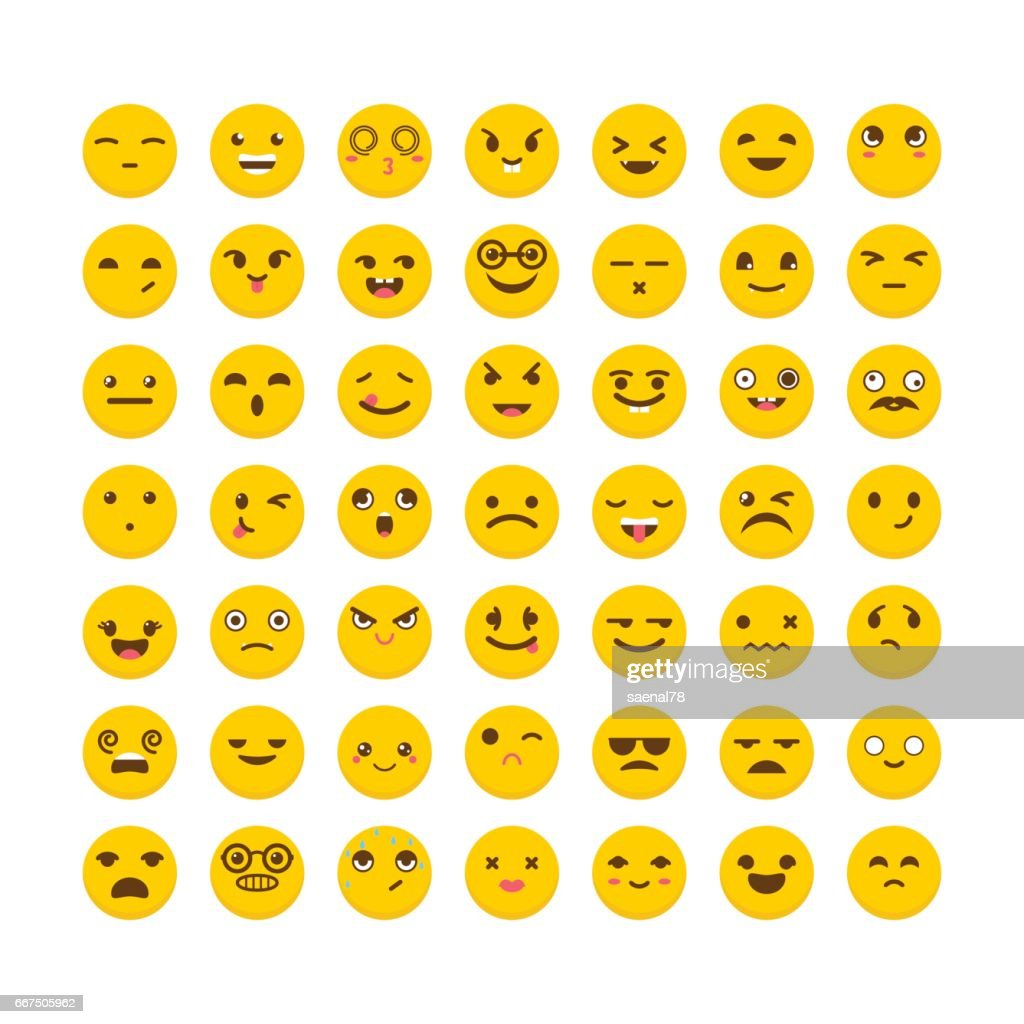 Set of emoticons. Cute emoji icons. Flat design. Big collection with different expressions
