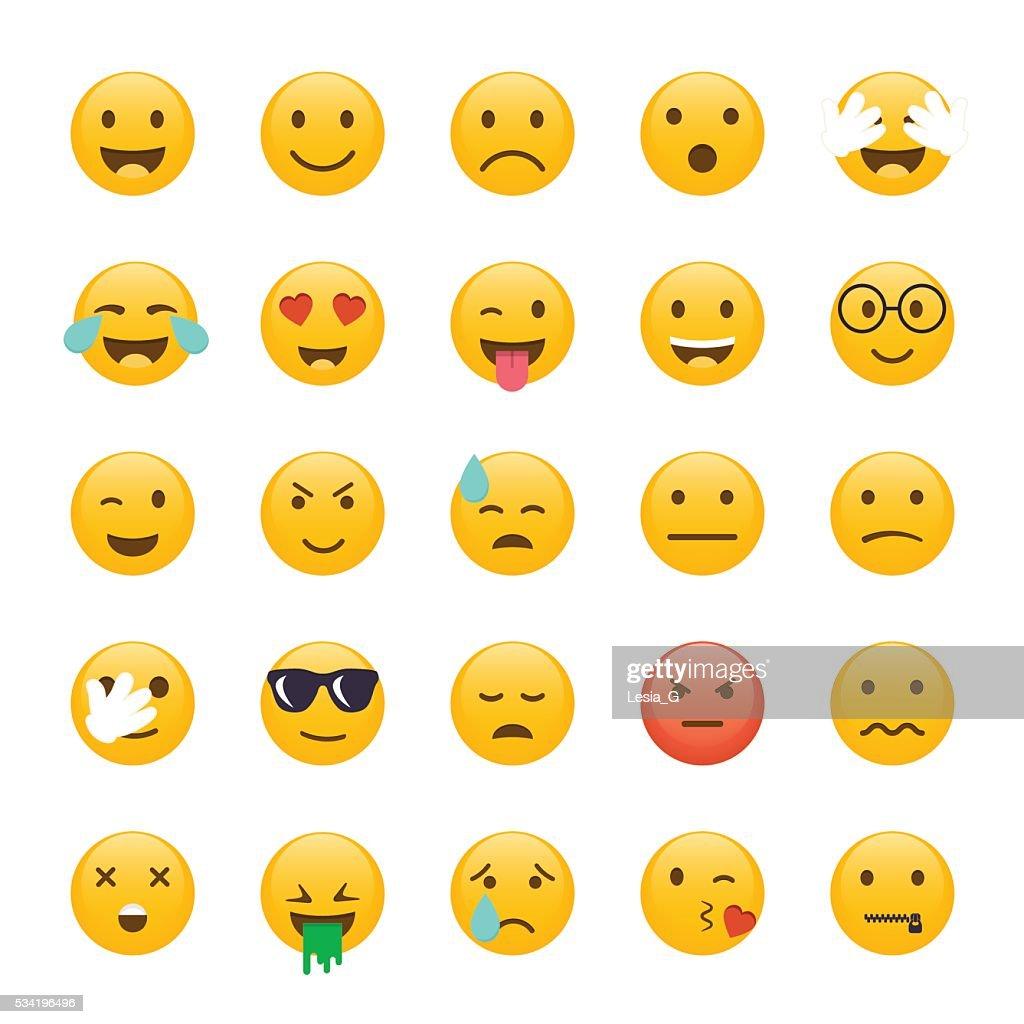 Set of Emoticons. Emoji flat design, avatar design. Vector illus