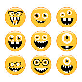 Set of Emoticons. Emoji. Monster faces in glasses with different