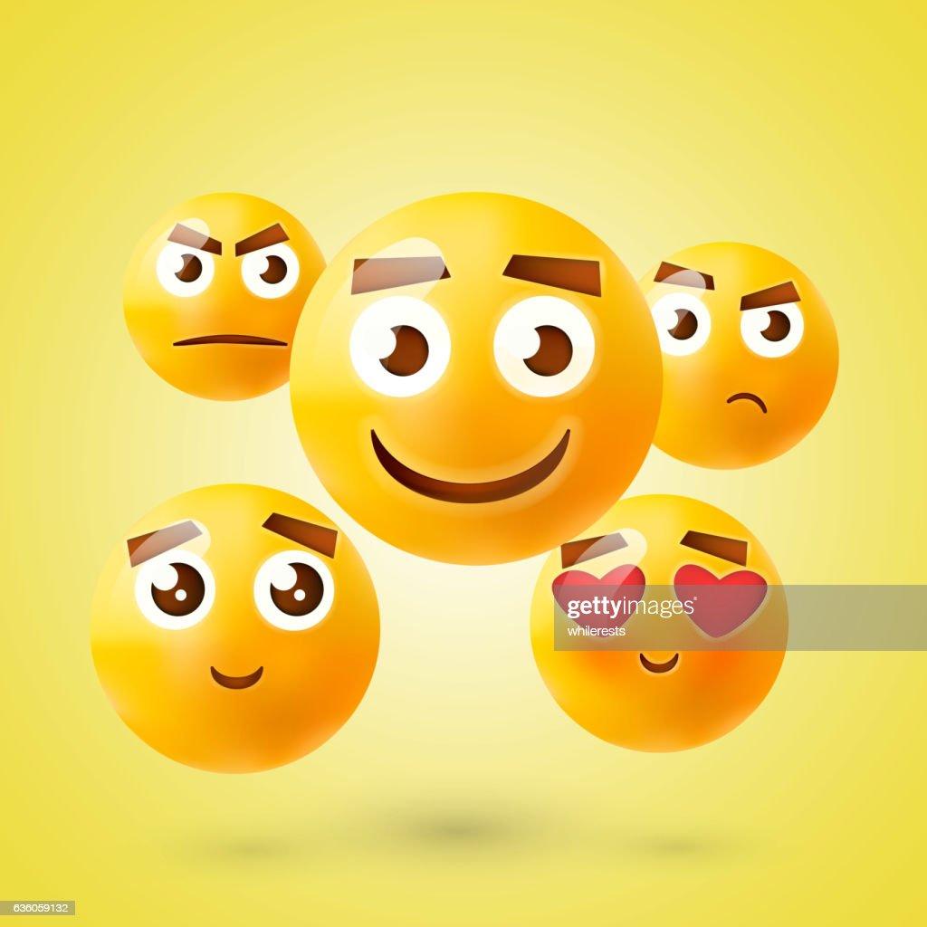 Set of Emoticons. Emoji. Smile icons. Isolated vector illustration on