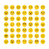 Set of emoticons. Flat design. Big collection with different expressions. Cute emoji icons
