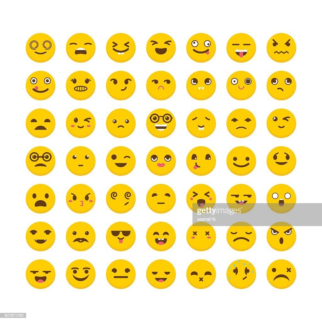 Set of emoticons. Funny cartoon faces. Cute emoji icons
