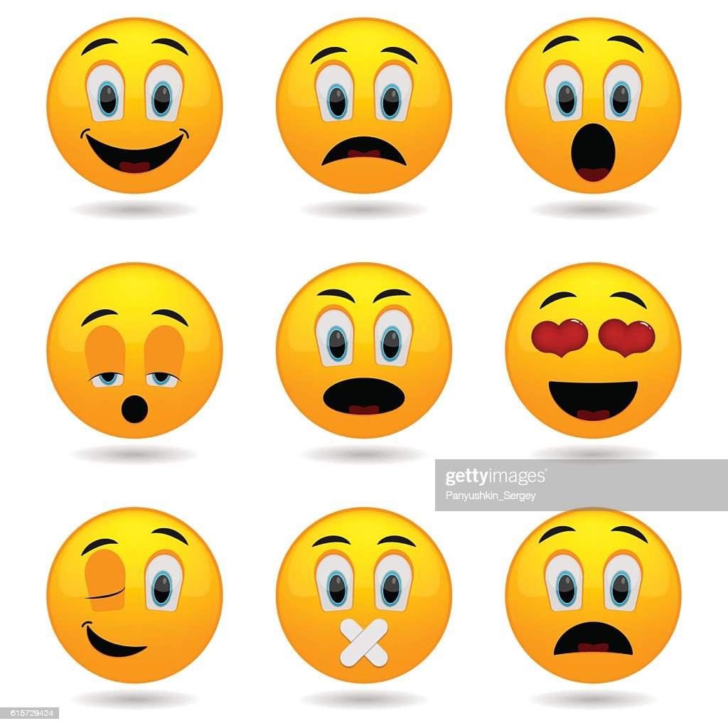 Set of Emoticons icons. Emotional funny faces in glossy 3D.