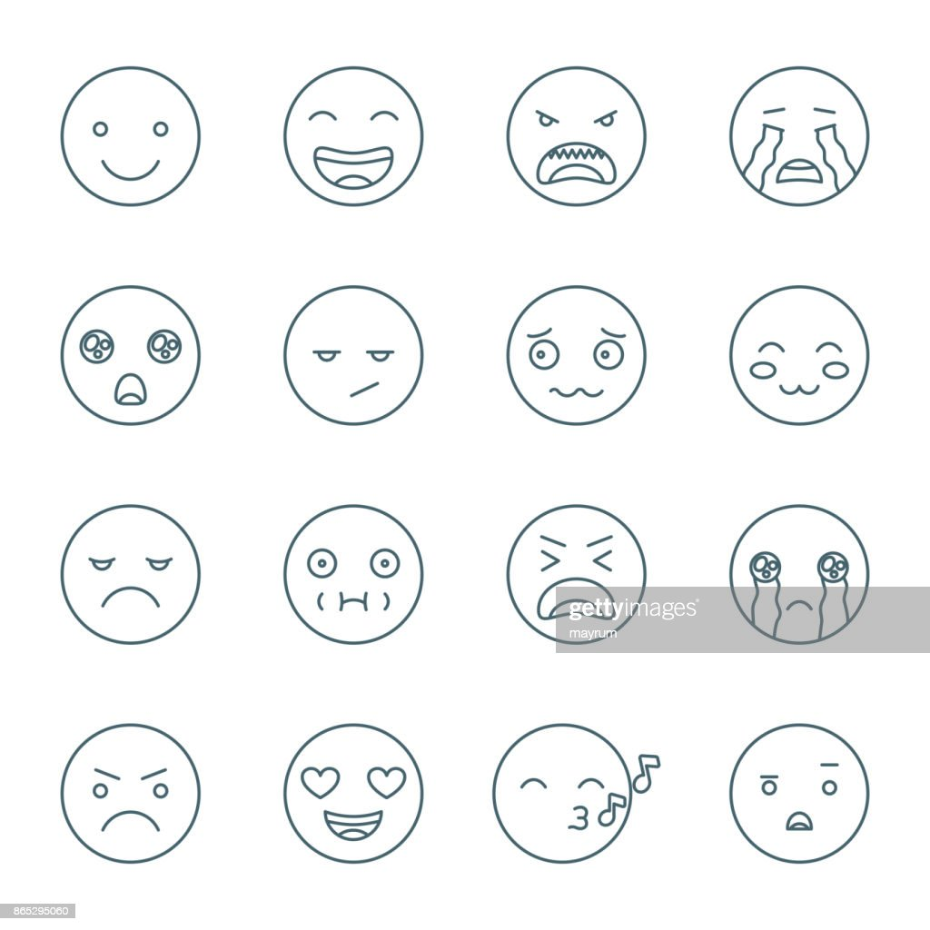 Set of emoticons, linear style