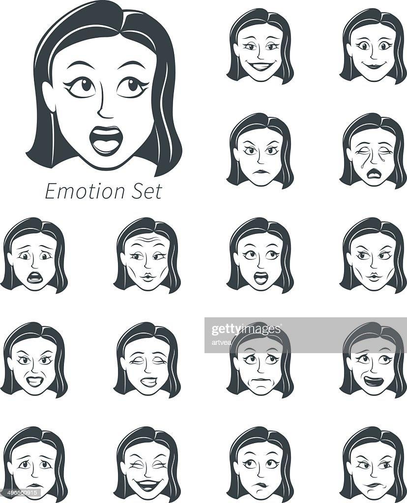 Set of Emotional Woman