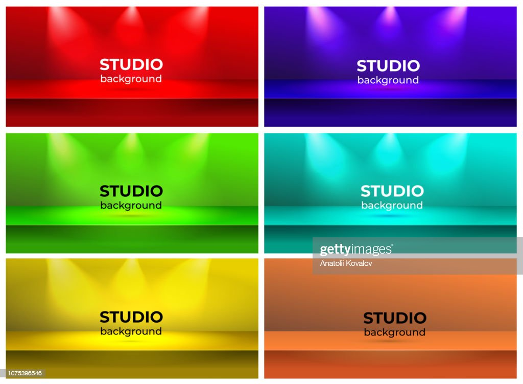 Set of empty vivid color studio table room, red, green, violet, blue, yellow background product display with copy space for display of content design. Vector illustration. Isolated on white background