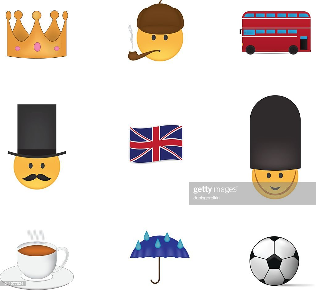 Set of english emoticon