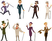Set of english victorian gentlemen. Characters in dynamic poses