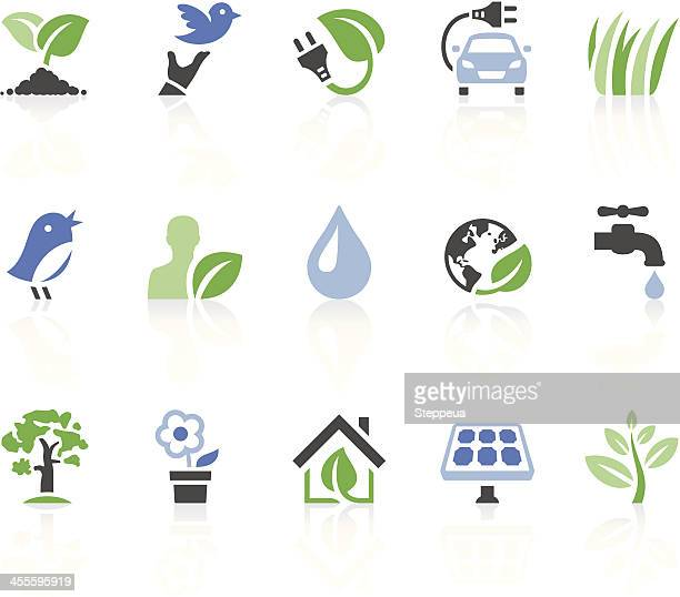 Set of environmental icons on white background