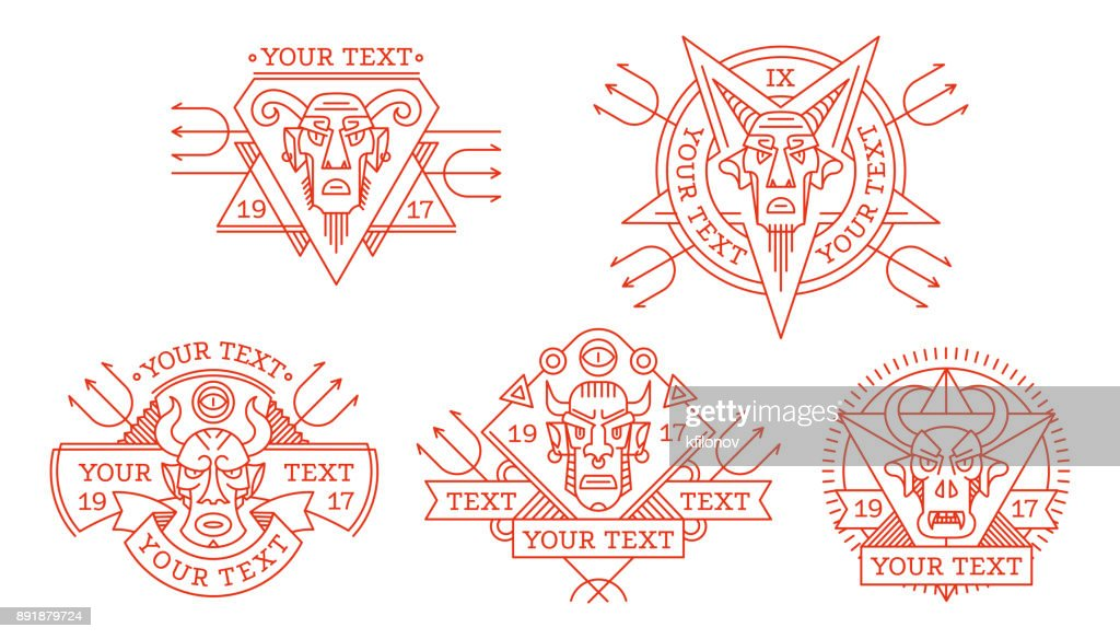 Set of ethnic diabolical masks of various shapes for logo, trademark, drawing on clothes, tattoo ornament, vector illustration. Badge is an evil devil, fiend, demon, Satan with horns.